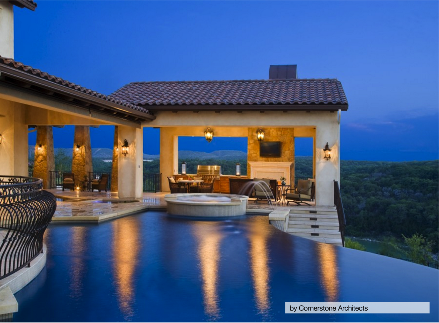 10 of the most stunning infinity pools homespree for Beautiful house designs with swimming pool